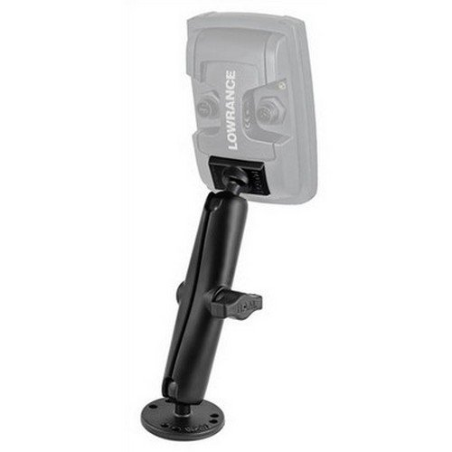 RAM MOUNTS (RAM-B-101-C-LO11 1'' Ball Marine Electronic Light Use Mount with Long Double Socket Arm for Lowrance Elite-4 and Mark-4 Series Fishfinders