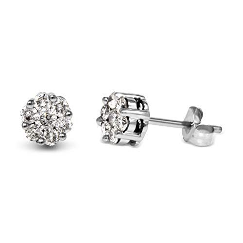 TriJewels AGS Certified Diamond Flower Stud Earrings (SI2-I1, G-H) 1/2 ctw 14K White - Studs G/h Color Diamond