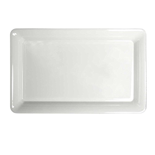 Party Essentials Heavy Duty Hard Plastic 12 x 18-Inch Rectangular Serving Tray, White, Single Unit