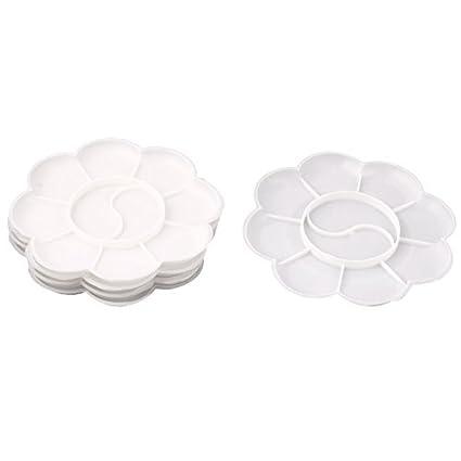 DealMux Artistas Plásticos 10 Bem pintura Paleta bandejas Placa 5 Pcs Branco