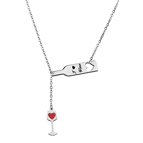 (Zuo Bao Wine Jewelry for Women, Love Heart Wine Cup Lariat Y Necklace, Stainless Steel Wine Jewelry Gift for Wine Lovers (Y-Necklace))
