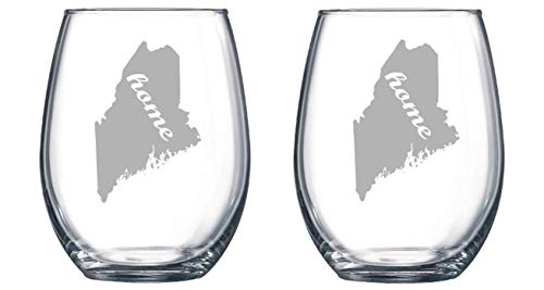 (Maine State Home set of 2 Etched Stemless Wine glass, Pint Glass, Stemmed wine Glass, Rocks glass, Pilsner or Nonic Pint glass)