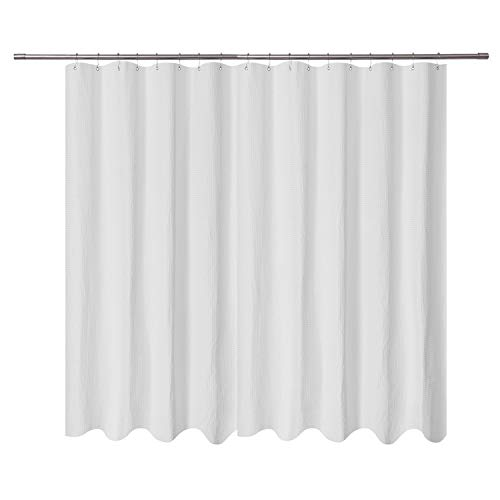 Extra Wide Fabric Shower Curtain 108 x 72 inch, Waffle Weave, Hotel Collection, Water Repellent, Washable, Spa, 230 GSM Heavy Duty, White Pique Pattern Decorative Bathroom Curtain, 18 -