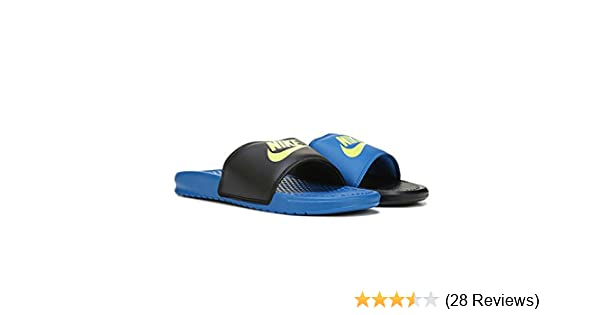 low priced d083c ef66d Amazon.com   Nike Men s Benassi JDI Mismatch - Black Volt-Blue Spark -  818736-074 - SZ. 7   Sandals