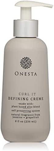 Onesta Hair Care Curl It Defining Crème, 8 oz, with Aloe, Mango, Papaya for Frizz-Free Curly Waves and Definition