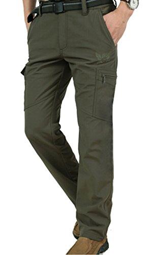 Men's Fleece Lined Stretch Waist Outdoor Pants Army green W31-32 /Asian XL