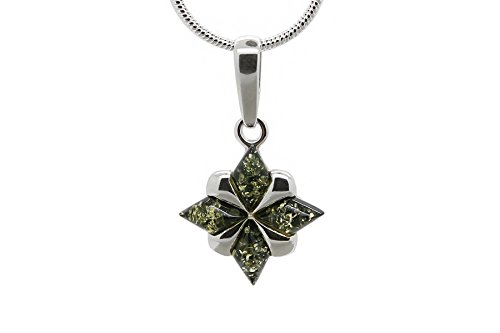 925 Sterling Silver North Star Pendant Necklace with Genuine Natural Baltic Green Amber. Chain included