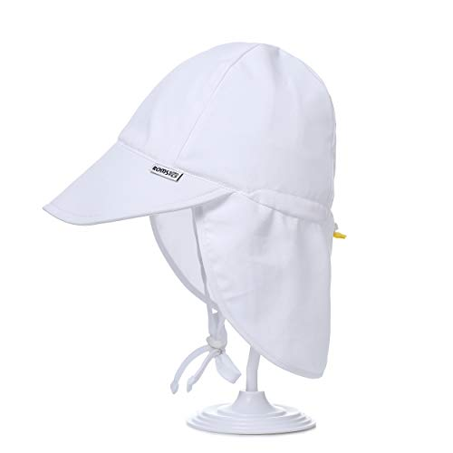 Kids Sun Hat with Wide Brim and Neck Flap - Unisex for Baby or Toddler - UPF 50+ UV Ray Sun Protection - Age 12-36 Months + Carry Bag - White