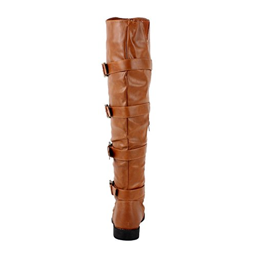 West Blvd Womens TEHRAN THIGH HIGH Boots Over The Knee Motorcycle Biker Riding Flat Heels Shoes ,Tan ,7 Photo #2