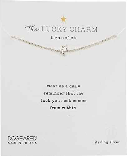 Dogeared Women's The Lucky Charm Bracelet, Unicorn Charm On Chain Sterling Silver One Size