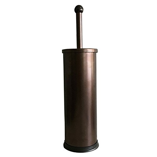 HUJI Rust Resistant Bronze Toilet Brush Holder with Lid Perfect Bathroom Bowl Cleaning Set Gift for House Warming or College Dorms Accessories (1, Bronze Toilet Brush) (Bronze Toilet Brush)