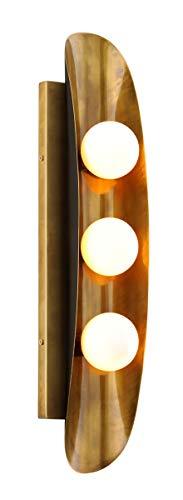 - Corbett 271-13 Hopper Wall Sconce, 3-Light 60 Total Watts, Vintage Brass Bronze Accents