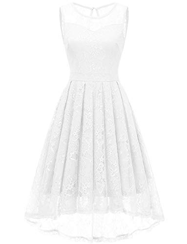 Gardenwed Women's Vintage Lace High Low Bridesmaid Dress Sleeveless Cocktail Party Swing Dress White-L