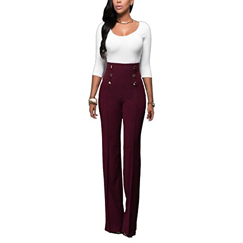 Sherro Women's Stretchy High Waisted Wide Leg Button-Down Pants Sailor Bell Flare Pants ()