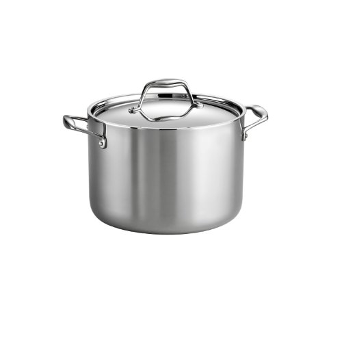 Tramontina 80116/041DS Gourmet 18/10 Stainless Steel Induction-Ready Tri-Ply Clad Covered Stock Pot, 8-Quart, NSF-Certified, Made in - Cast Induction Ready
