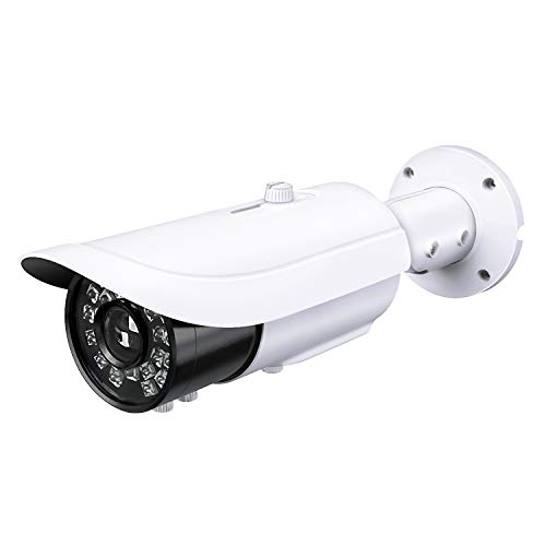 (HDView IP License Plate Camera, 5MP HD Network POE Camera with 2.8-12mm Motorized Lens, H.265, HLC Shutter Security Outdoor Camera with IR Night Vision, ONVIF, VCA Intelligent Analytics,)