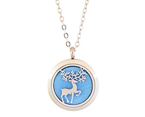 Aromatherapy Essential Oil Diffuser Stainless Steel Silver Magnetic Locket Pendant 2 sizes Chain Necklace, Refill Pads & Diffuser Bracelet in a gift bag & Free Ebook (prancing winter elk)