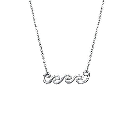 - MISSU JEWELLRY Ocean Wave Pendant Necklace Silver Tone Collar Style Jewelry Gifts for Surfer, Beach Lover