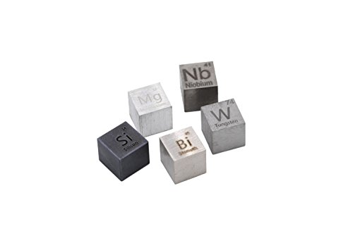 10mm Precision Machined Density Cubes: Silicon, Magnesium, Niobium, Bismuth and Tungsten Metal by Luciteria Science Density Set Series