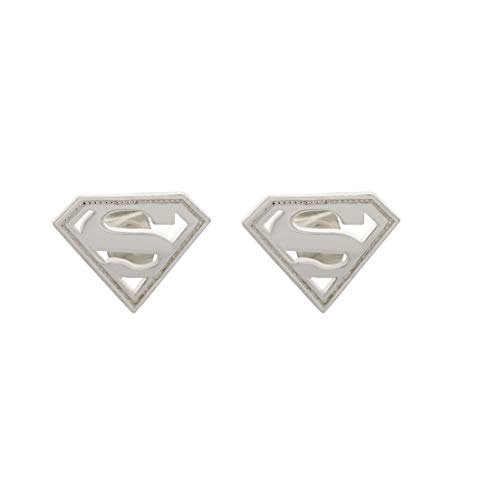 DC Comics Officially Licensed Jewelry for Women and Girls, Sterling Silver Superman Logo Stud Earrings