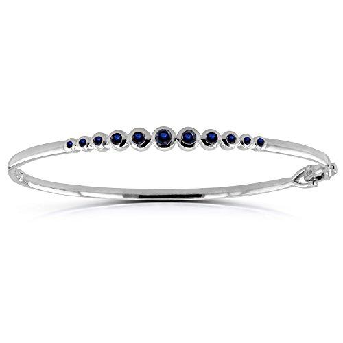 Bezel-Set Blue Sapphire Bangle 3/4 ctw in 10k White Gold