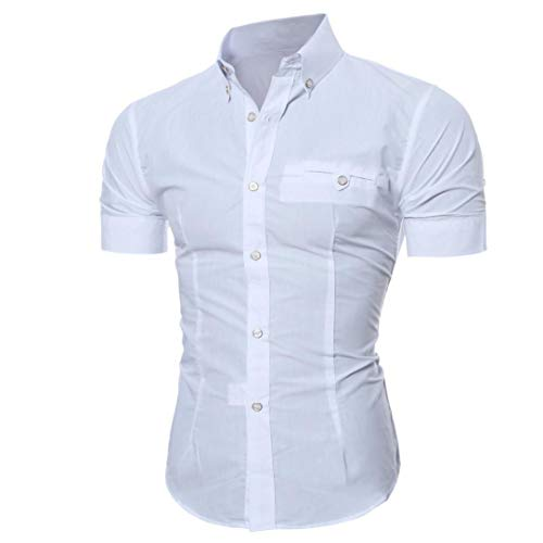 Men Short Sleeve Dress Shirt Slim Fit Oxford Collar Solid Button Business Blouse(White,Bust:36