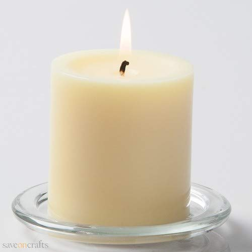 Pillar Candles 3''x6'' White Set of 24 - Excellent Home Decor - Indoor & Outdoor