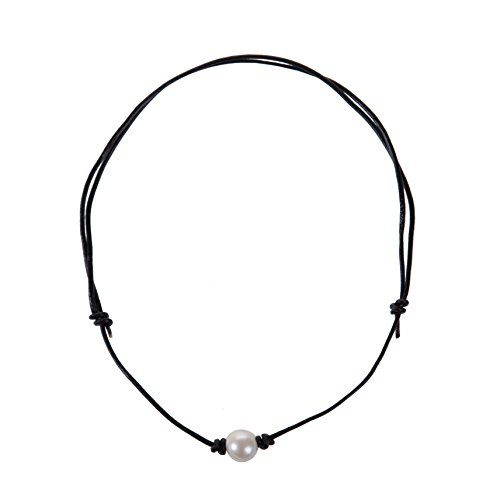 The Feeling Adjustable Pearl Choker Leather Necklace on Genuine Leather Cord Women Handmade Jewelry Black