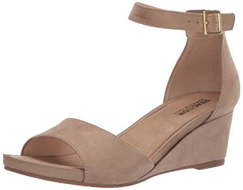 Kenneth Cole REACTION Women's Roll Wedge Ankle Strap Sandal, café 6 M US