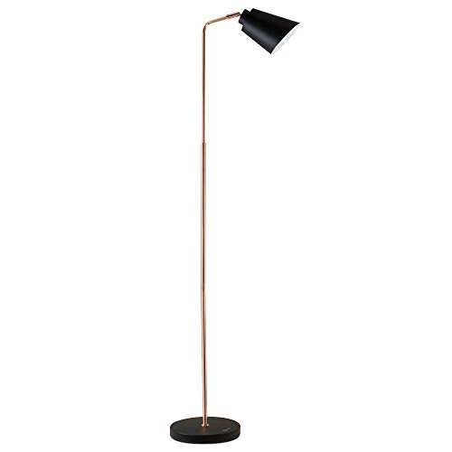 OttLite Pearson LED Floor Lamp with Copper Arm | Floor Step Switch, Adjustable Shade | Great for Office, Home, Living Room, Bedroom, Family Room, Reading Light, Workspace