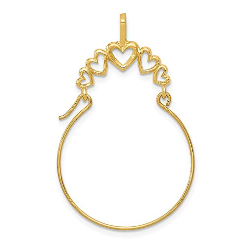 14k Yellow Gold 5 Heart Pendant Charm Necklace Holder Fine Jewelry Gifts For Women For Her ()
