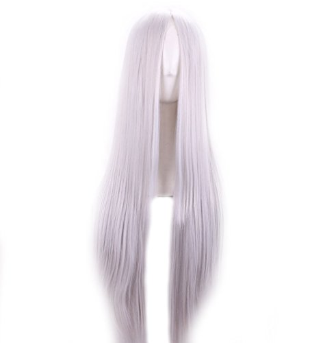 VIMIKID 30'' 75cm Long Straight White Middle Parting Heat Resistant Synthetic Cosplay Costume Party Hair Wig by VIMIKID (Image #1)
