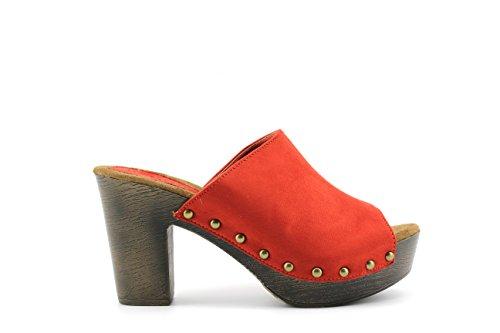 Modelisa - Sandalias Destanoladas Tacon Mujer Teja