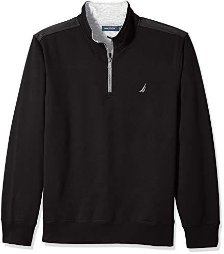 Nautica Men's 1/4 Zip Pieced Fleece Sweatshirt, True Black, X-Large