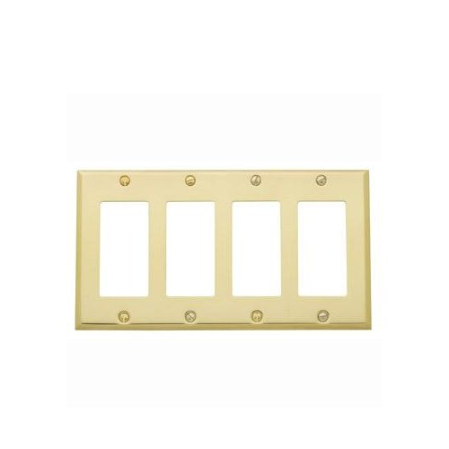 Baldwin Estate 4742.030.CD Square Beveled Edge Quad GFCI Wall Plate in Polished Brass, 4.5