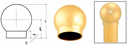-5/16' Ball Type End Cap for 2' Tubing (2' Polished Brass Rail)