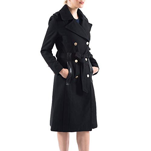 alpine swiss Claire Women's Wool Blend Double Breasted Belted Trench Coat Black Large ()