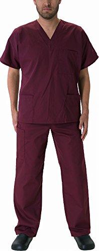 Natural Workwear Uniform Mens Medical Nurse Scrub Set, Burgundy 39070-Small