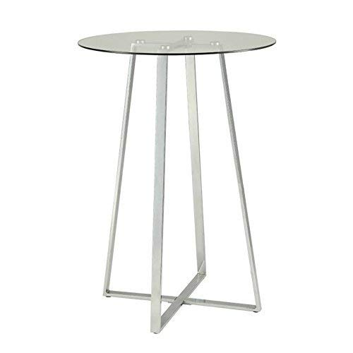 Coaster 100026-CO Glass Top Pub Table, In Chrome ()