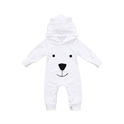 Newborn Autumn Cartoon Bear Jumpsuit,Jchen(TM) Infant Toddler Baby Boys Girls Long Sleeve Hoodie Cute Bear Romper Jumpsuit for 0-24 Months (Age: 12-18 Months, White) by Jchen Baby Sets