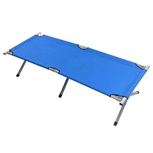 Folding Cot Outdoor Portable Camping Military Hiking Picnic Medical Bed Sleeping w/ Carry Bag Blue - For Sale Shop Nsw
