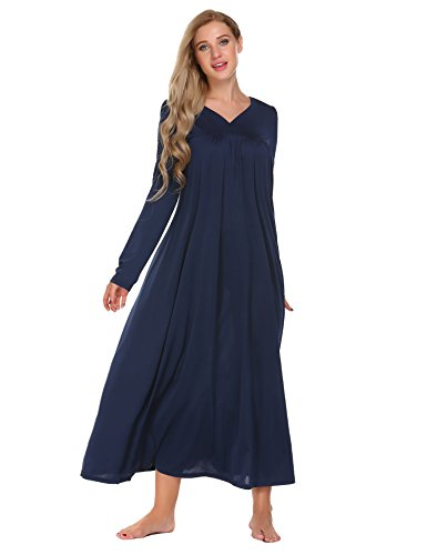 Ekouaer Long Sleeve Victorian Nightgown Sexy Sleepwear Maxi Dress For (Victorian Plus Size)