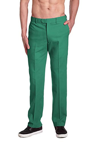 CONCITOR Brand Mens EMERALD GREEN Dress Pants COTTON Flat Front Mens Trousers
