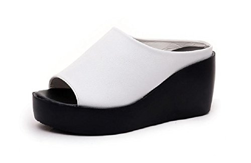 Kuro&Ardor Sandals Wedge Woman Light Open Toe High Platform Comfort Shoes Heel (6.5US 24cm, White) Clear Cork Wedge
