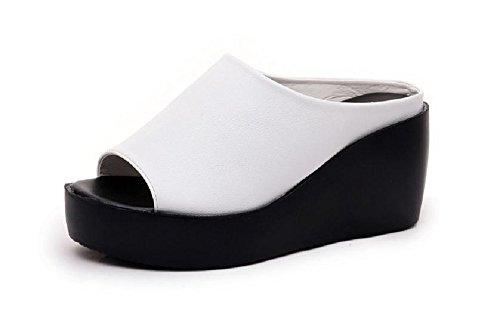 Kuro&Ardor Sandals Wedge Woman Light Open Toe High Platform Comfort Shoes Heel (7 US 24.5cm, White) (White And Platform Black)