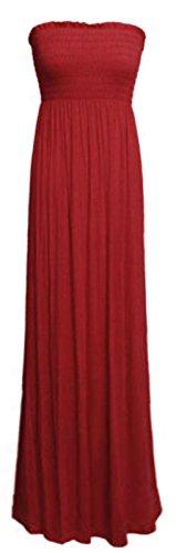 Vestido largo para mujer, escote palabra de honor, tallas 36-54 Rojo