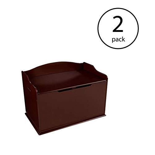 KidKraft Austin Wooden Organizer Storage Box and Sitting Bench, Cherry (2 Pack)