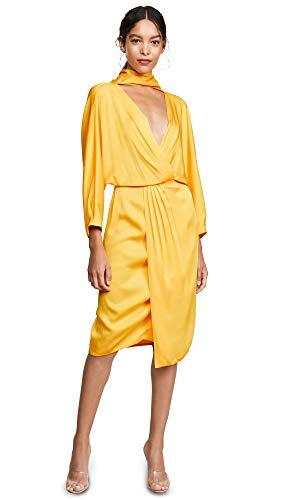Diane von Furstenberg Women's Front Twist Wrap Dress, Goldenrod, 10 from Diane von Furstenberg