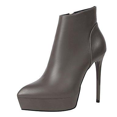 CH&TOU Da donna-Stivaletti-Formale-Comoda-A stiletto-Finta pelle-Nero Grigio Borgogna , burgundy , us8 / eu39 / uk6 / cn39