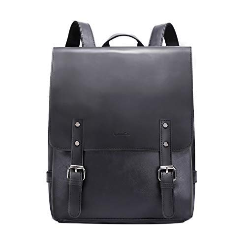 Black Leather Backpack - Womens Leather Backpack Vintage Laptop Black Backpack Faux Leather Travel Daypack College School Bookbag for Women, Girls & Students